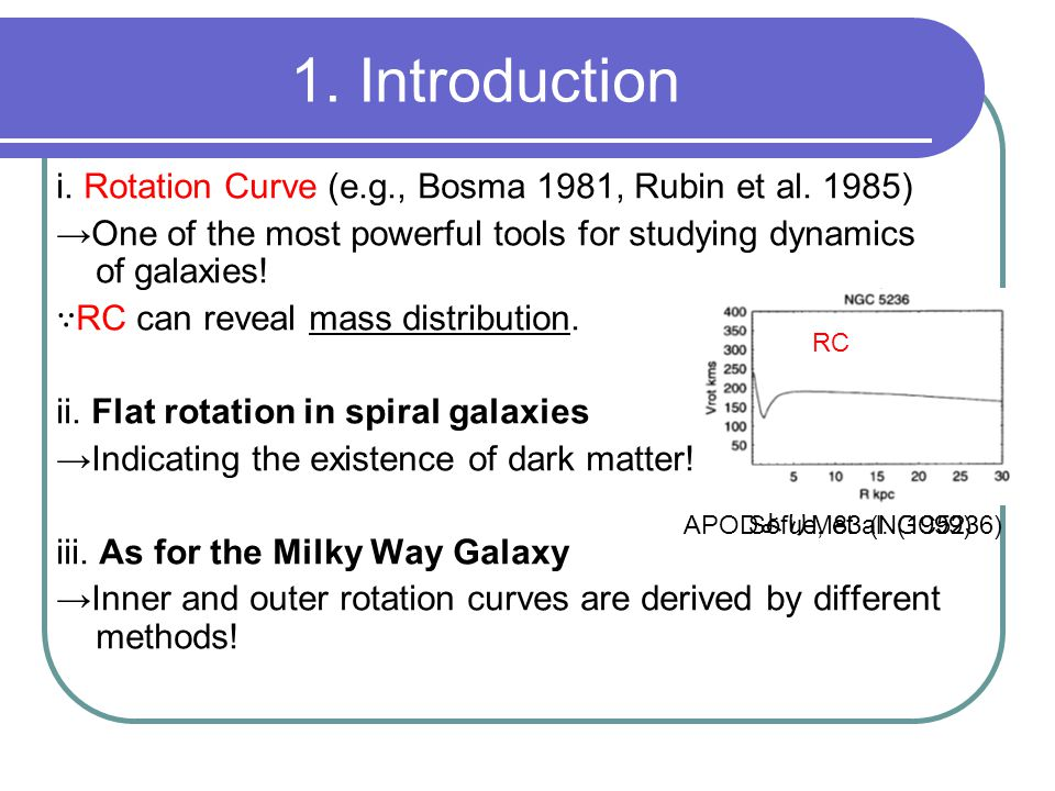 1. Introduction i. Rotation Curve (e.g., Bosma 1981, Rubin et al. 1985) →One of the most powerful tools for studying dynamics of galaxies! ∵ RC can re