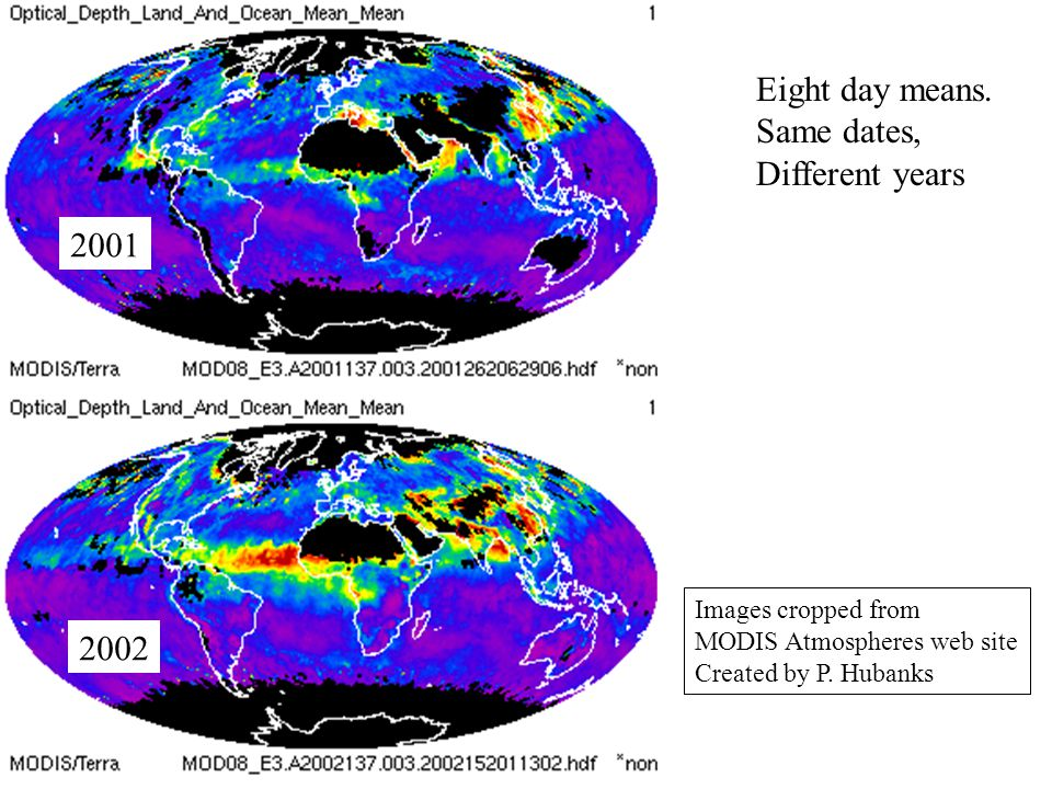2001 2002 Eight day means. Same dates, Different years Images cropped from MODIS Atmospheres web site Created by P. Hubanks