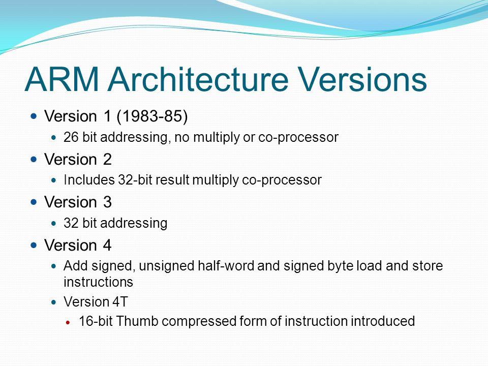 Example: C assignment C: y = a*(b+c); Assembler: ADR r4,b ; get address for b LDR r0,[r4] ; get value of b ADR r4,c ; get address for c LDR r1,[r4] ; get value of c ADD r2,r0,r1 ; compute partial result ADR r4,a ; get address for a LDR r0,[r4] ; get value of a