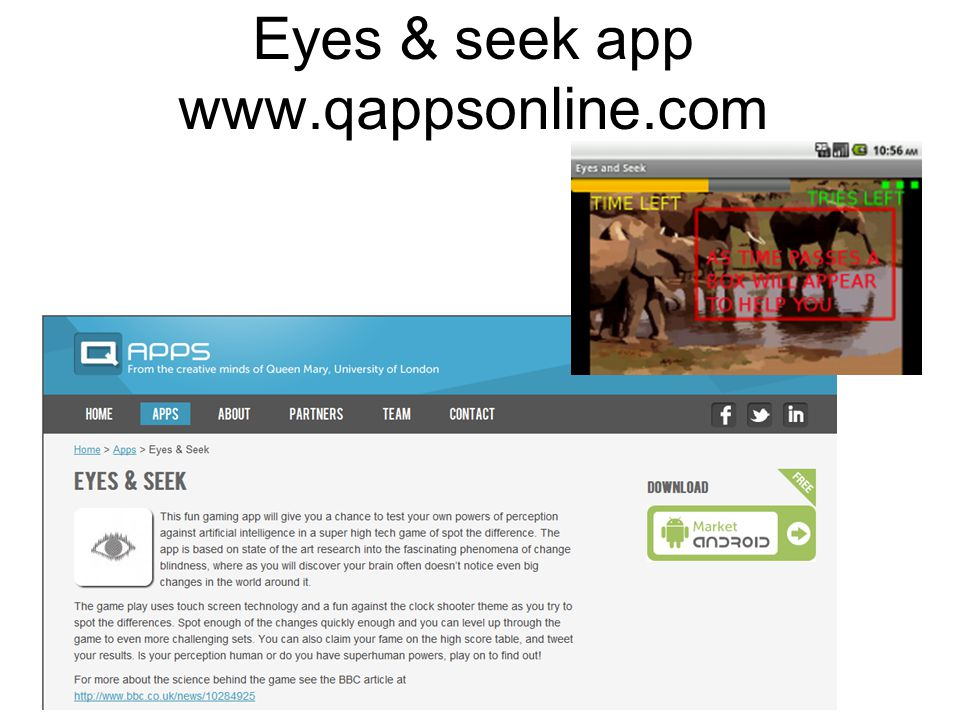 Eyes & seek app www.qappsonline.com