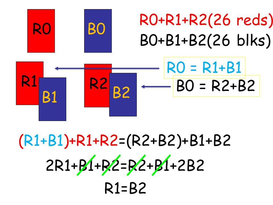 R0B0 R2 B2 R1 B1 B0 = R2+B2R0 = R1+B1 (R1+B1)+R1+R2=(R2+B2)+B1+B2 R0+R1+R2(26 reds) B0+B1+B2(26 blks) 2R1+B1+R2=R2+B1+2B2 R1=B2