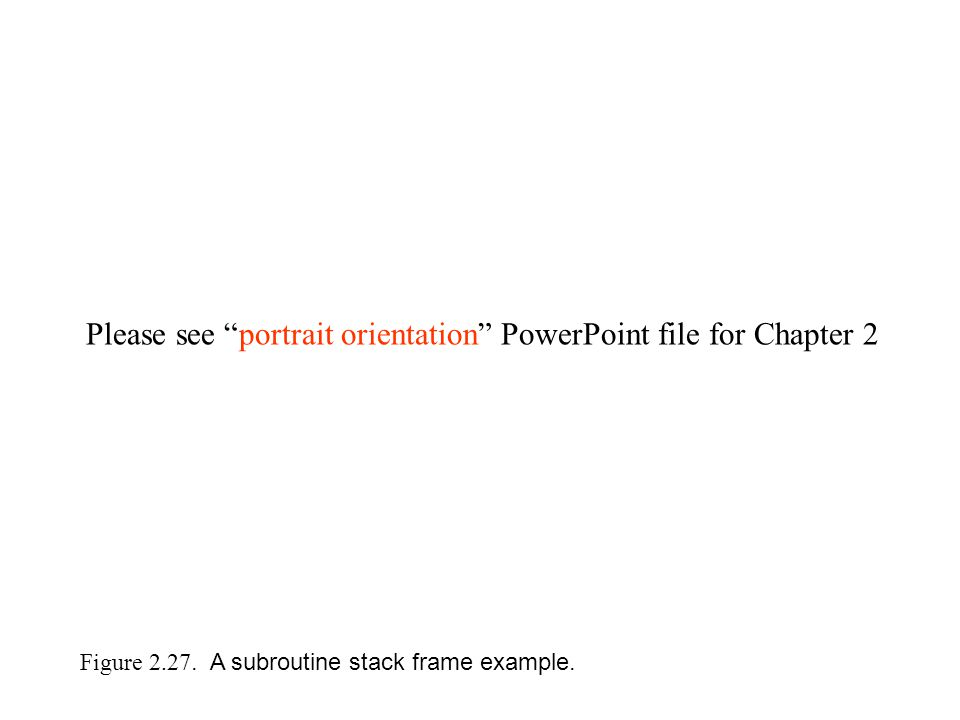 Figure 2.27. A subroutine stack frame example.