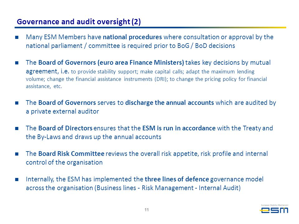 Governance and audit oversight (2) Many ESM Members have national procedures where consultation or approval by the national parliament / committee is