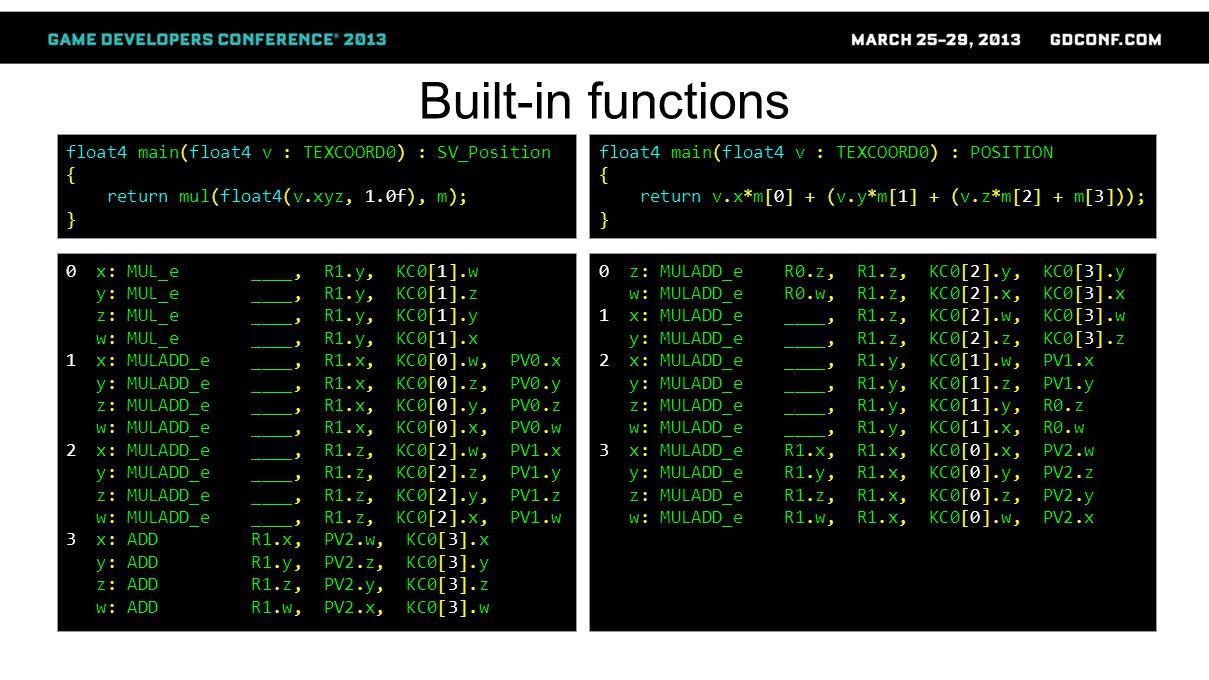 Built-in functions float4 main(float4 v : TEXCOORD0) : SV_Position { return mul(float4(v.xyz, 1.0f), m); } 0 x: MUL_e ____, R1.y, KC0[1].w y: MUL_e ____, R1.y, KC0[1].z z: MUL_e ____, R1.y, KC0[1].y w: MUL_e ____, R1.y, KC0[1].x 1 x: MULADD_e ____, R1.x, KC0[0].w, PV0.x y: MULADD_e ____, R1.x, KC0[0].z, PV0.y z: MULADD_e ____, R1.x, KC0[0].y, PV0.z w: MULADD_e ____, R1.x, KC0[0].x, PV0.w 2 x: MULADD_e ____, R1.z, KC0[2].w, PV1.x y: MULADD_e ____, R1.z, KC0[2].z, PV1.y z: MULADD_e ____, R1.z, KC0[2].y, PV1.z w: MULADD_e ____, R1.z, KC0[2].x, PV1.w 3 x: ADD R1.x, PV2.w, KC0[3].x y: ADD R1.y, PV2.z, KC0[3].y z: ADD R1.z, PV2.y, KC0[3].z w: ADD R1.w, PV2.x, KC0[3].w float4 main(float4 v : TEXCOORD0) : POSITION { return v.x*m[0] + (v.y*m[1] + (v.z*m[2] + m[3])); } 0 z: MULADD_e R0.z, R1.z, KC0[2].y, KC0[3].y w: MULADD_e R0.w, R1.z, KC0[2].x, KC0[3].x 1 x: MULADD_e ____, R1.z, KC0[2].w, KC0[3].w y: MULADD_e ____, R1.z, KC0[2].z, KC0[3].z 2 x: MULADD_e ____, R1.y, KC0[1].w, PV1.x y: MULADD_e ____, R1.y, KC0[1].z, PV1.y z: MULADD_e ____, R1.y, KC0[1].y, R0.z w: MULADD_e ____, R1.y, KC0[1].x, R0.w 3 x: MULADD_e R1.x, R1.x, KC0[0].x, PV2.w y: MULADD_e R1.y, R1.x, KC0[0].y, PV2.z z: MULADD_e R1.z, R1.x, KC0[0].z, PV2.y w: MULADD_e R1.w, R1.x, KC0[0].w, PV2.x