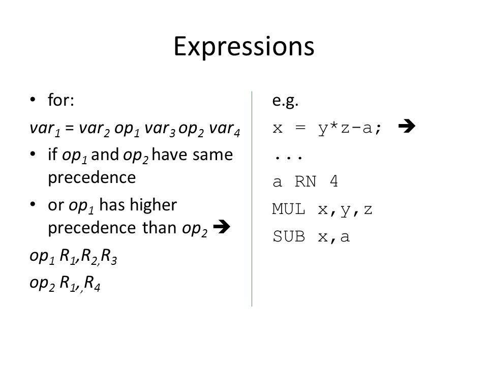 Expressions for: var 1 = var 2 op 1 var 3 op 2 var 4 if op 1 and op 2 have same precedence or op 1 has higher precedence than op 2  op 1 R 1,R 2, R 3 op 2 R 1,, R 4 e.g.