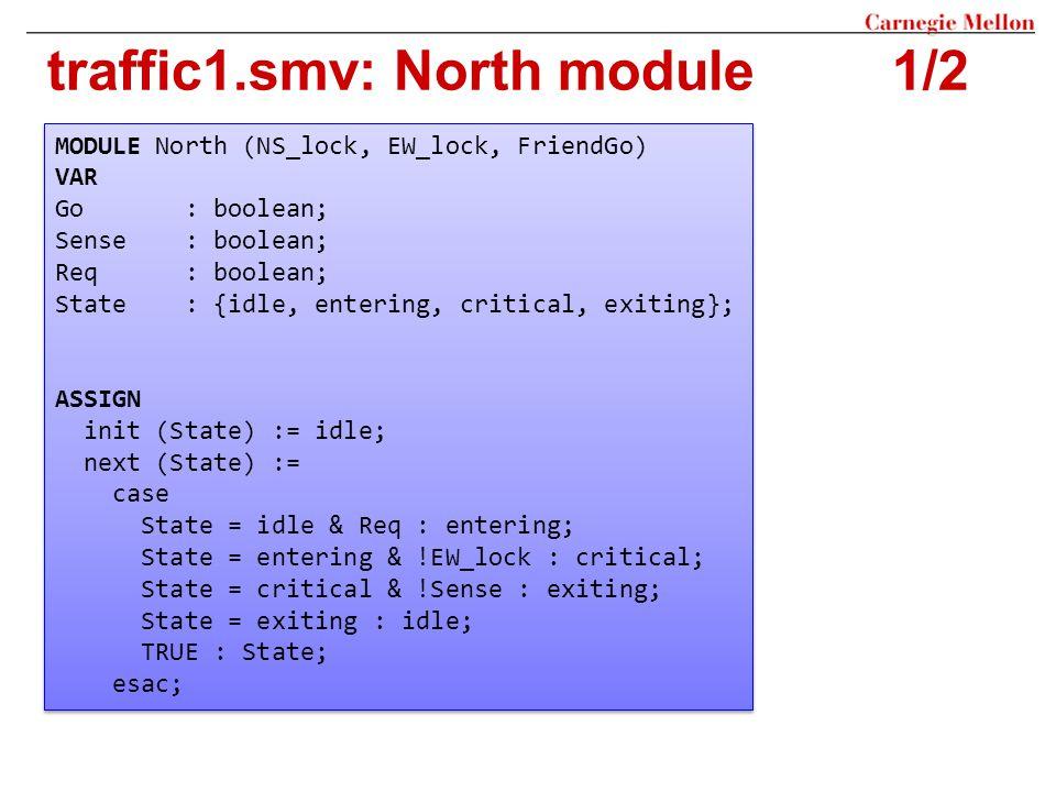 traffic1.smv: North module1/2 MODULE North (NS_lock, EW_lock, FriendGo) VAR Go : boolean; Sense : boolean; Req : boolean; State : {idle, entering, cri