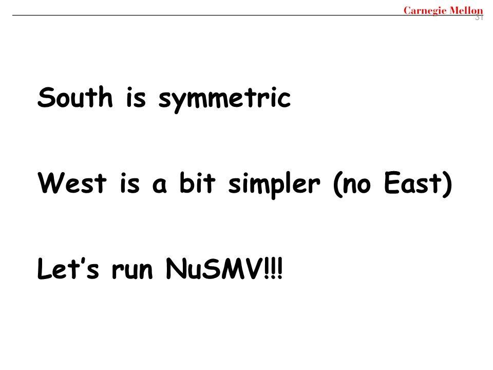 31 South is symmetric West is a bit simpler (no East) Let's run NuSMV!!!
