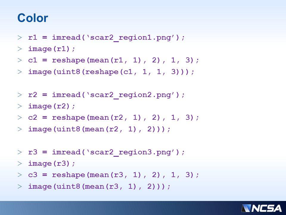 Color >r1 = imread('scar2_region1.png'); >image(r1); >c1 = reshape(mean(r1, 1), 2), 1, 3); >image(uint8(reshape(c1, 1, 1, 3))); >r2 = imread('scar2_region2.png'); >image(r2); >c2 = reshape(mean(r2, 1), 2), 1, 3); >image(uint8(mean(r2, 1), 2))); >r3 = imread('scar2_region3.png'); >image(r3); >c3 = reshape(mean(r3, 1), 2), 1, 3); >image(uint8(mean(r3, 1), 2)));