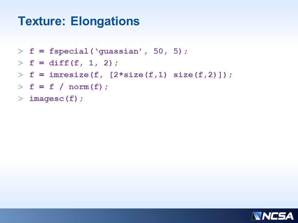 Texture: Elongations >f = fspecial('guassian', 50, 5); >f = diff(f, 1, 2); >f = imresize(f, [2*size(f,1) size(f,2)]); >f = f / norm(f); >imagesc(f);