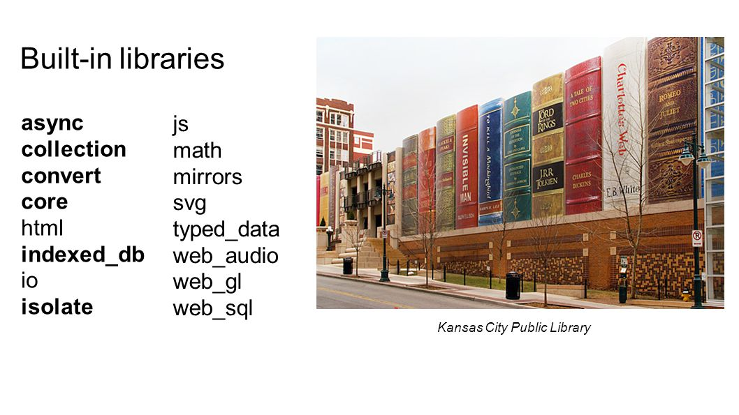 Built-in libraries async collection convert core html indexed_db io isolate js math mirrors svg typed_data web_audio web_gl web_sql Kansas City Public Library