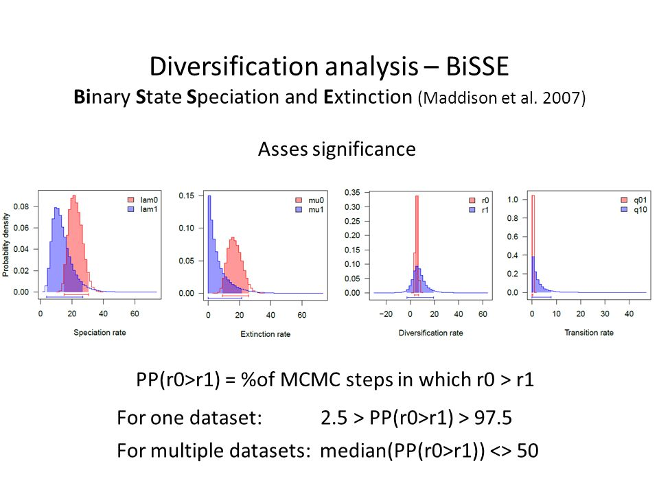 Diversification analysis – BiSSE Binary State Speciation and Extinction (Maddison et al. 2007) Asses significance PP(r0>r1) = %of MCMC steps in which