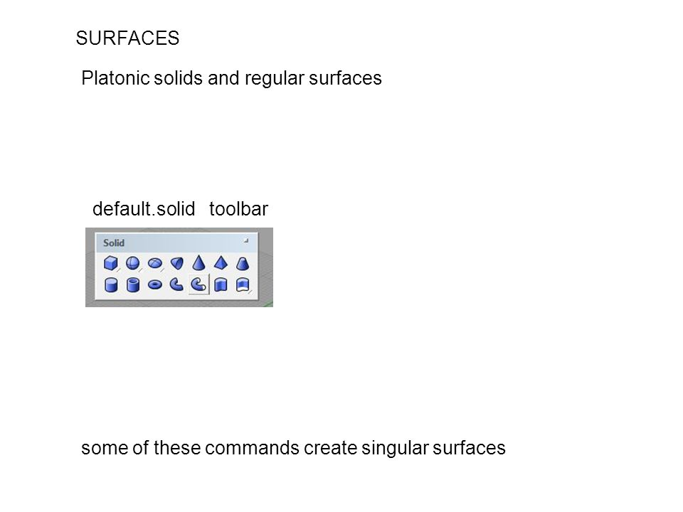 SURFACES some of these commands create singular surfaces Platonic solids and regular surfaces default.solid toolbar