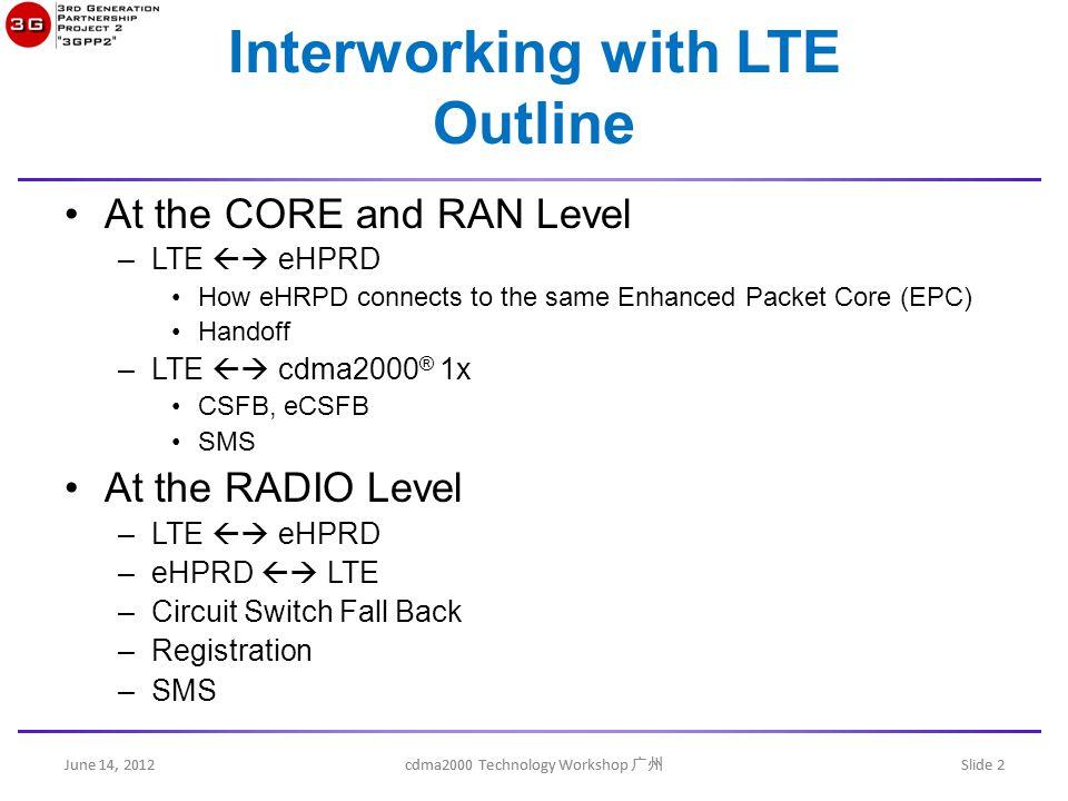 June 14, 2012 cdma2000 Technology Workshop 广州 Slide 13 eHRPD  E-UTRAN inter-RAT redirection