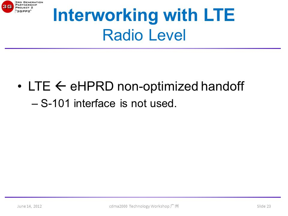 June 14, 2012 cdma2000 Technology Workshop 广州 Slide 23 Interworking with LTE Radio Level LTE  eHPRD non-optimized handoff –S-101 interface is not used.