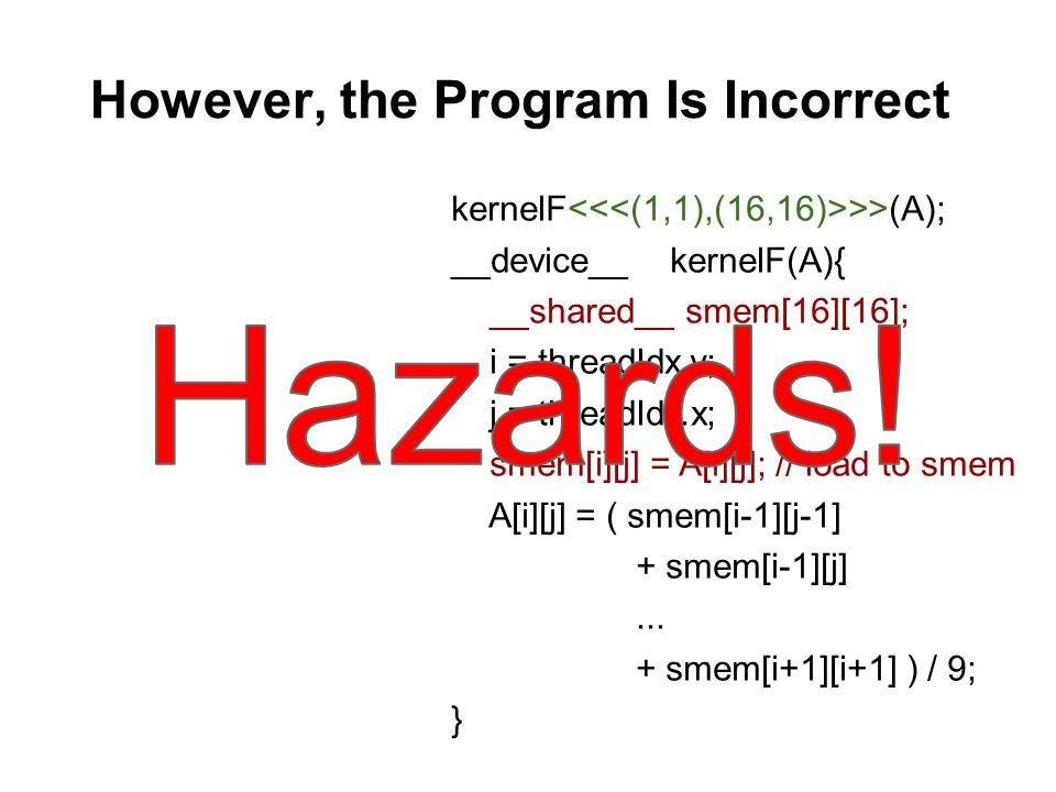 However, the Program Is Incorrect kernelF >>(A); __device__ kernelF(A){ __shared__ smem[16][16]; i = threadIdx.y; j = threadIdx.x; smem[i][j] = A[i][j]; // load to smem A[i][j] = ( smem[i-1][j-1] + smem[i-1][j]...