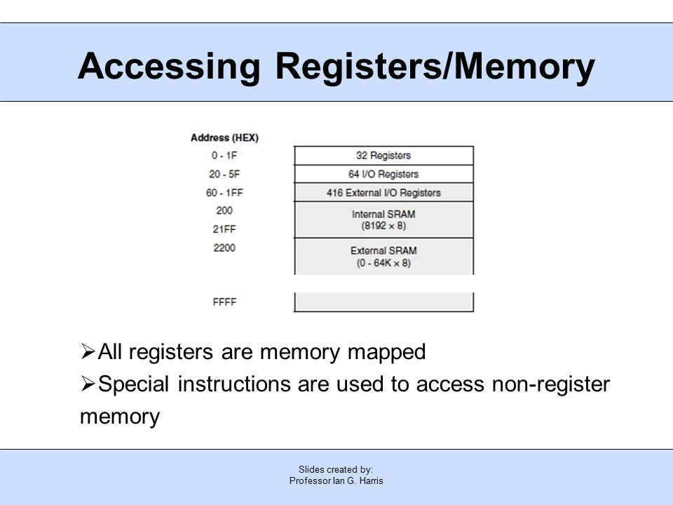 Slides created by: Professor Ian G. Harris Accessing Registers/Memory  All registers are memory mapped  Special instructions are used to access non-