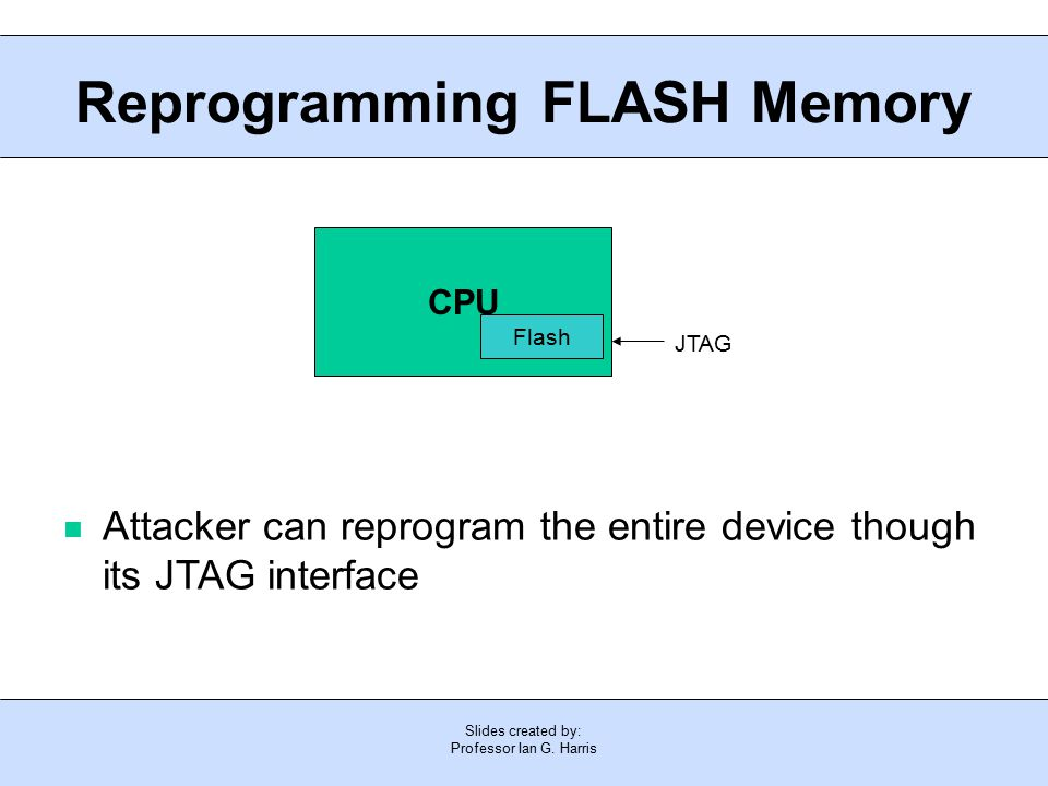 Slides created by: Professor Ian G. Harris Reprogramming FLASH Memory Attacker can reprogram the entire device though its JTAG interface CPU Flash JTA