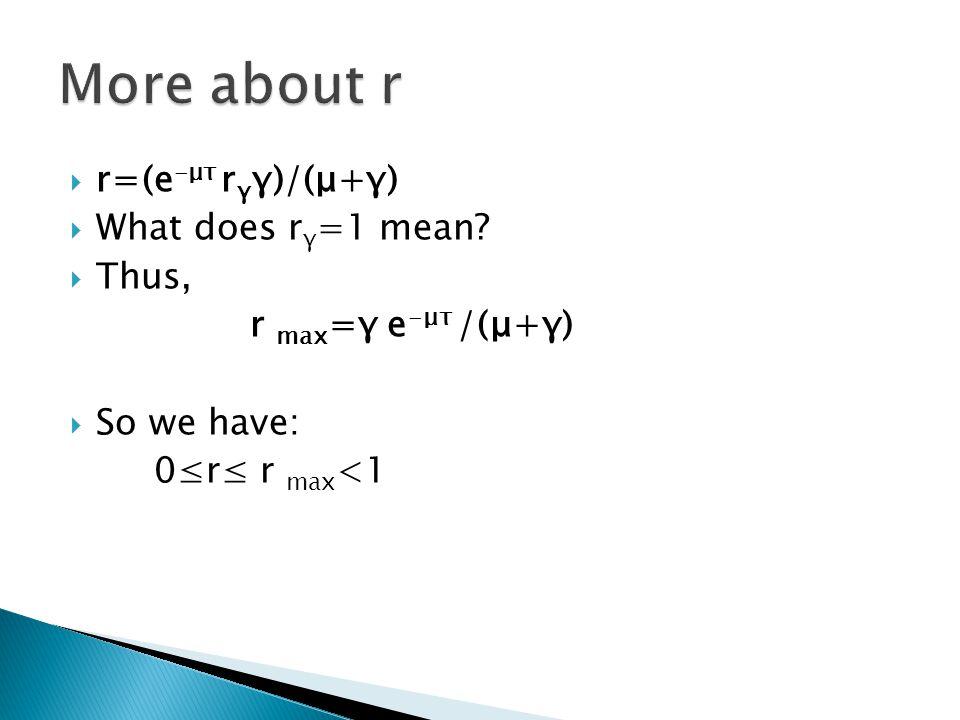  r=(e -μτ r γ γ)/(μ+γ)  What does r γ =1 mean.