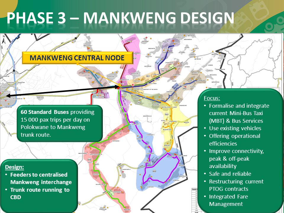 Design: Feeders to centralised Mankweng interchange Trunk route running to CBD 17 MANKWENG CENTRAL NODE Focus: Formalise and integrate current Mini-Bu