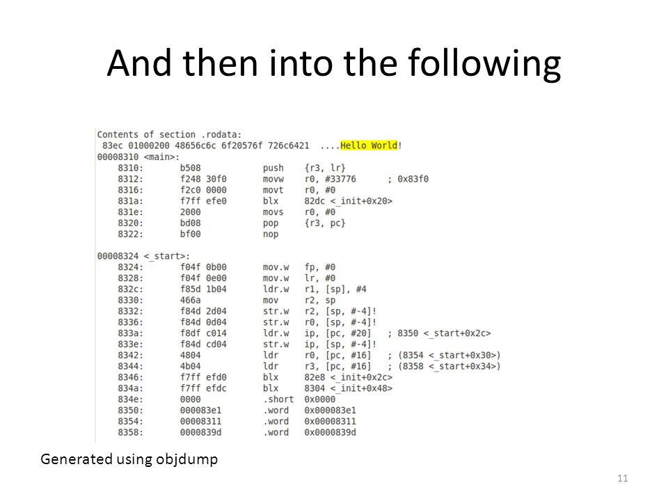 And then into the following 11 Generated using objdump