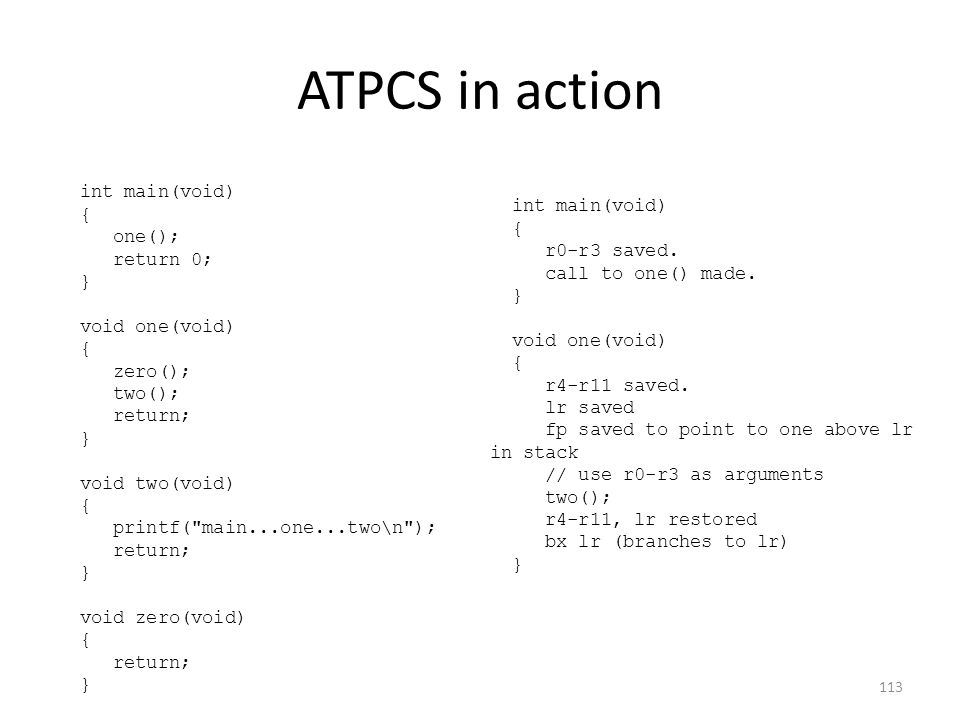 ATPCS in action int main(void) { one(); return 0; } void one(void) { zero(); two(); return; } void two(void) { printf(