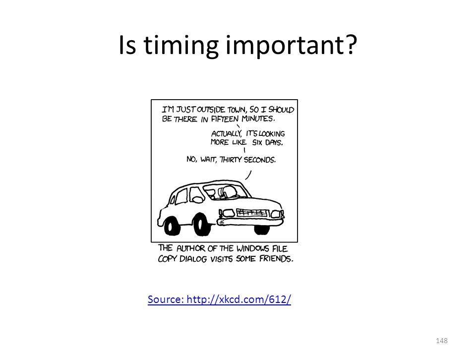 Is timing important? Source: http://xkcd.com/612/ 148