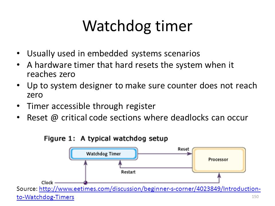Watchdog timer Usually used in embedded systems scenarios A hardware timer that hard resets the system when it reaches zero Up to system designer to m