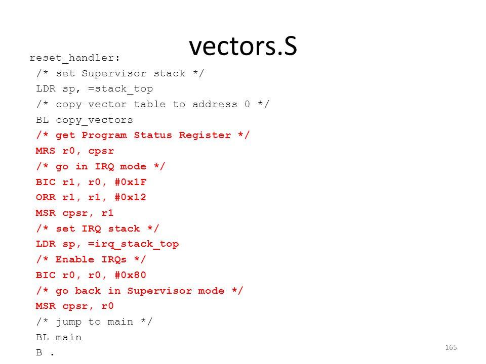 vectors.S reset_handler: /* set Supervisor stack */ LDR sp, =stack_top /* copy vector table to address 0 */ BL copy_vectors /* get Program Status Regi