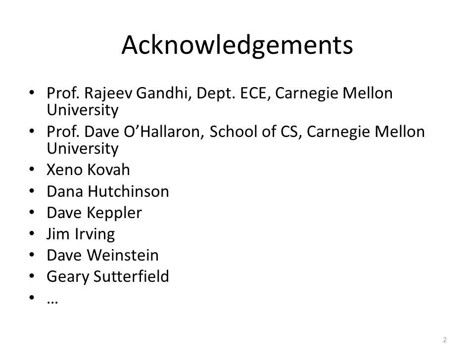 Acknowledgements Prof. Rajeev Gandhi, Dept. ECE, Carnegie Mellon University Prof. Dave O'Hallaron, School of CS, Carnegie Mellon University Xeno Kovah