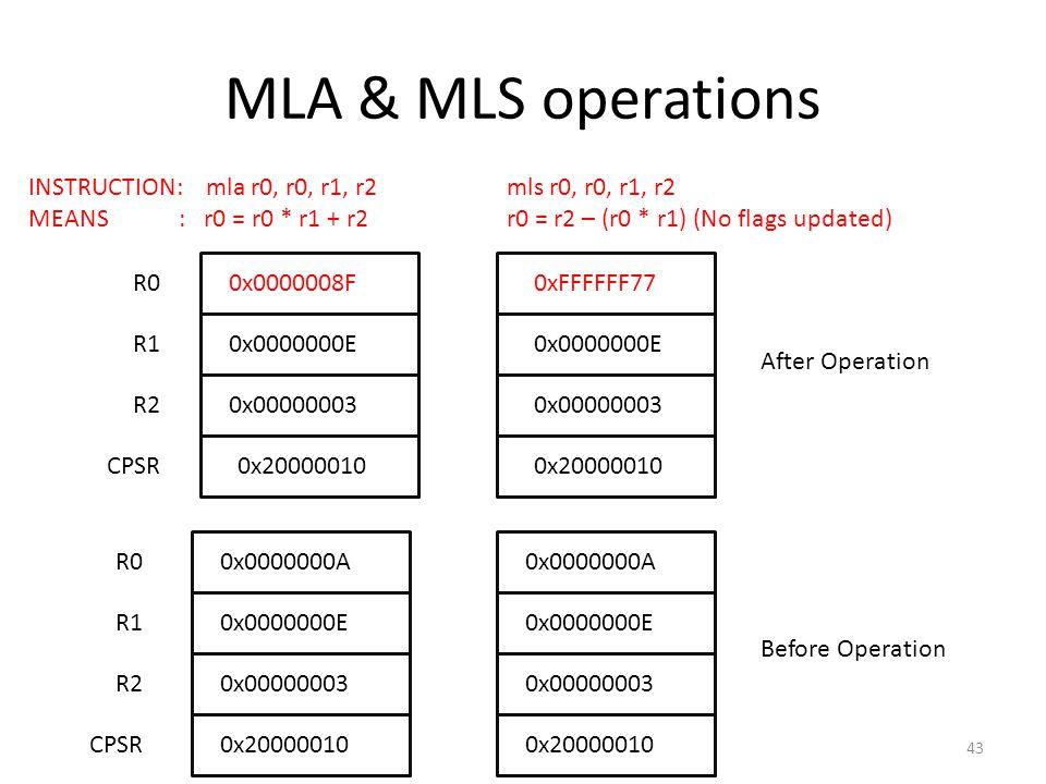 MLA & MLS operations R00x0000000A INSTRUCTION: mla r0, r0, r1, r2 mls r0, r0, r1, r2 MEANS : r0 = r0 * r1 + r2 r0 = r2 – (r0 * r1) (No flags updated)