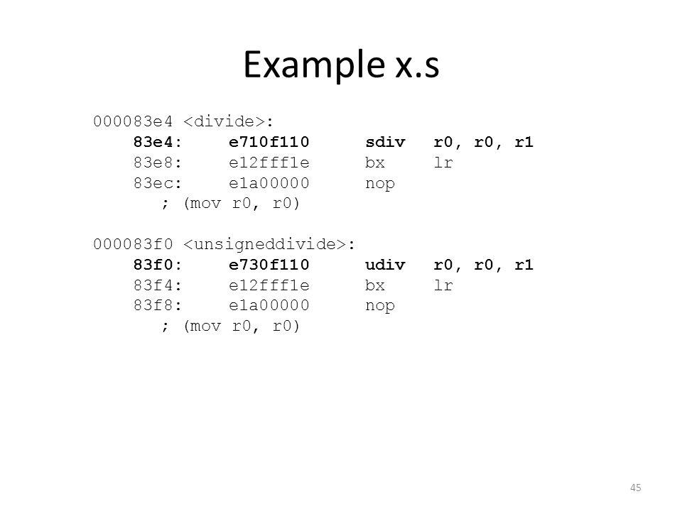 Example x.s 000083e4 : 83e4:e710f110 sdivr0, r0, r1 83e8:e12fff1e bxlr 83ec:e1a00000 nop ; (mov r0, r0) 000083f0 : 83f0:e730f110 udivr0, r0, r1 83f4:e
