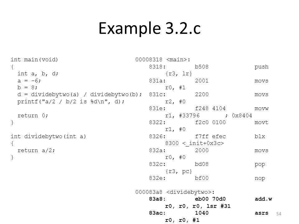 Example 3.2.c int main(void) { int a, b, d; a = -6; b = 8; d = dividebytwo(a) / dividebytwo(b); printf(