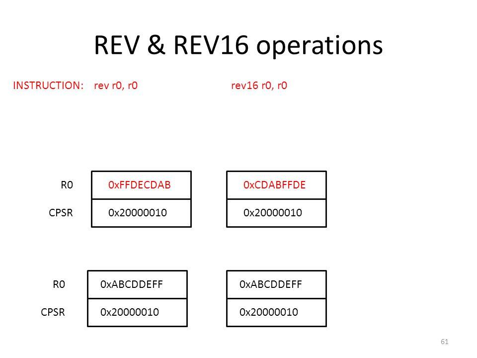 REV & REV16 operations R00xABCDDEFF INSTRUCTION: rev r0, r0 rev16 r0, r0 0x20000010CPSR R0 CPSR0x20000010 0xABCDDEFF 0xFFDECDAB0xCDABFFDE 61