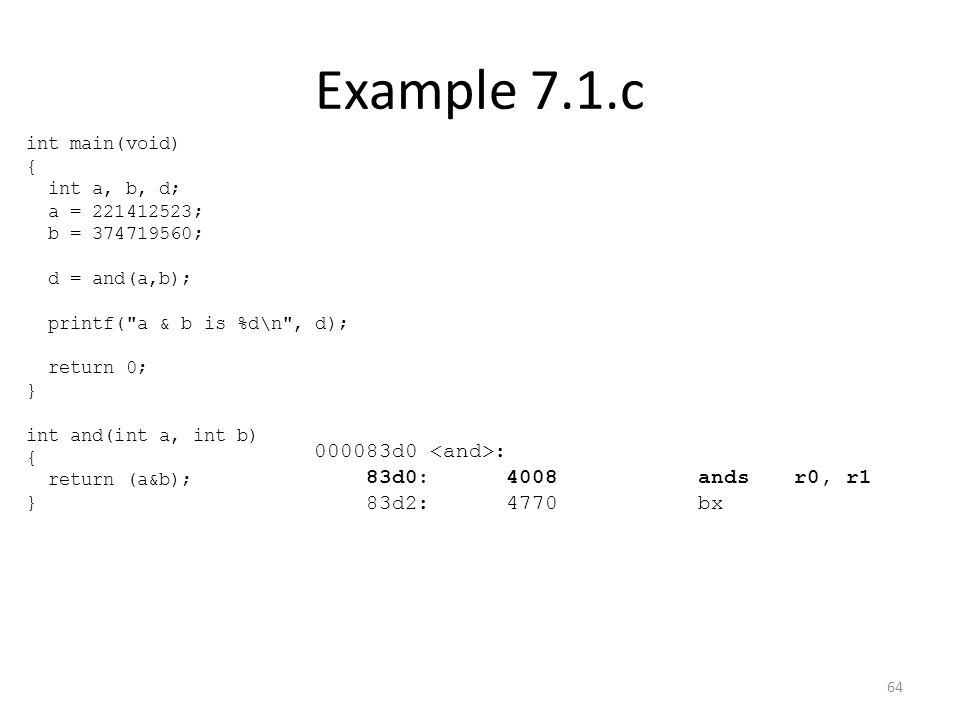 Example 7.1.c 000083d0 : 83d0:4008 andsr0, r1 83d2:4770 bx int main(void) { int a, b, d; a = 221412523; b = 374719560; d = and(a,b); printf(