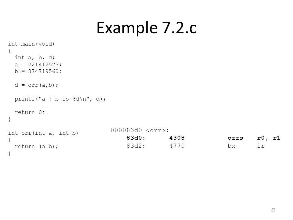 Example 7.2.c 000083d0 : 83d0:4308 orrsr0, r1 83d2:4770 bxlr int main(void) { int a, b, d; a = 221412523; b = 374719560; d = orr(a,b); printf(