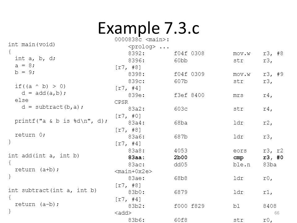 Example 7.3.c 0000838c :... 8392:f04f 0308 mov.wr3, #8 8396:60bb strr3, [r7, #8] 8398:f04f 0309 mov.wr3, #9 839c:607b strr3, [r7, #4] 839e:f3ef 8400 m