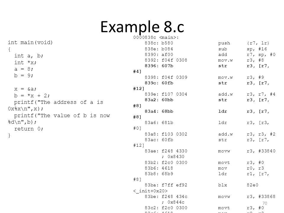Example 8.c 0000838c : 838c:b580 push{r7, lr} 838e:b084 subsp, #16 8390:af00 addr7, sp, #0 8392:f04f 0308 mov.wr3, #8 8396:607b strr3, [r7, #4] 8398:f