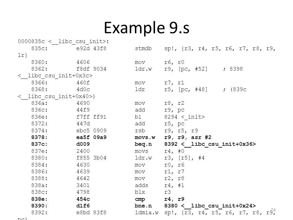 Example 9.s 0000835c : 835c:e92d 43f8 stmdbsp!, {r3, r4, r5, r6, r7, r8, r9, lr} 8360:4606 movr6, r0 8362:f8df 9034 ldr.wr9, [pc, #52]; 8398 8366:460f
