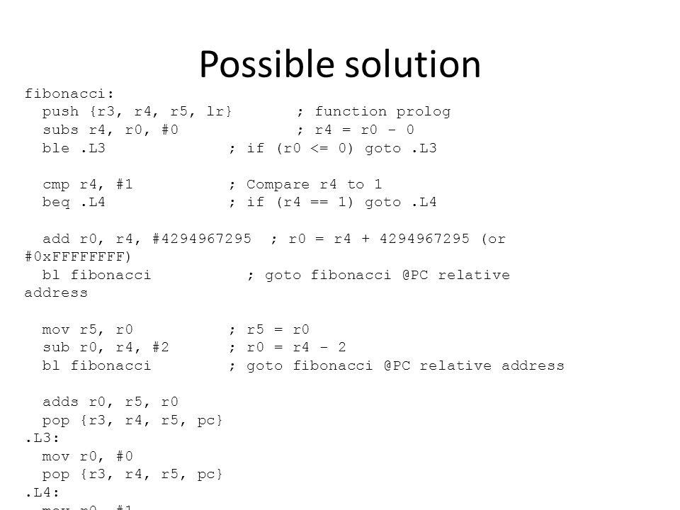 Possible solution fibonacci: push {r3, r4, r5, lr}; function prolog subs r4, r0, #0; r4 = r0 - 0 ble.L3; if (r0 <= 0) goto.L3 cmp r4, #1; Compare r4 t