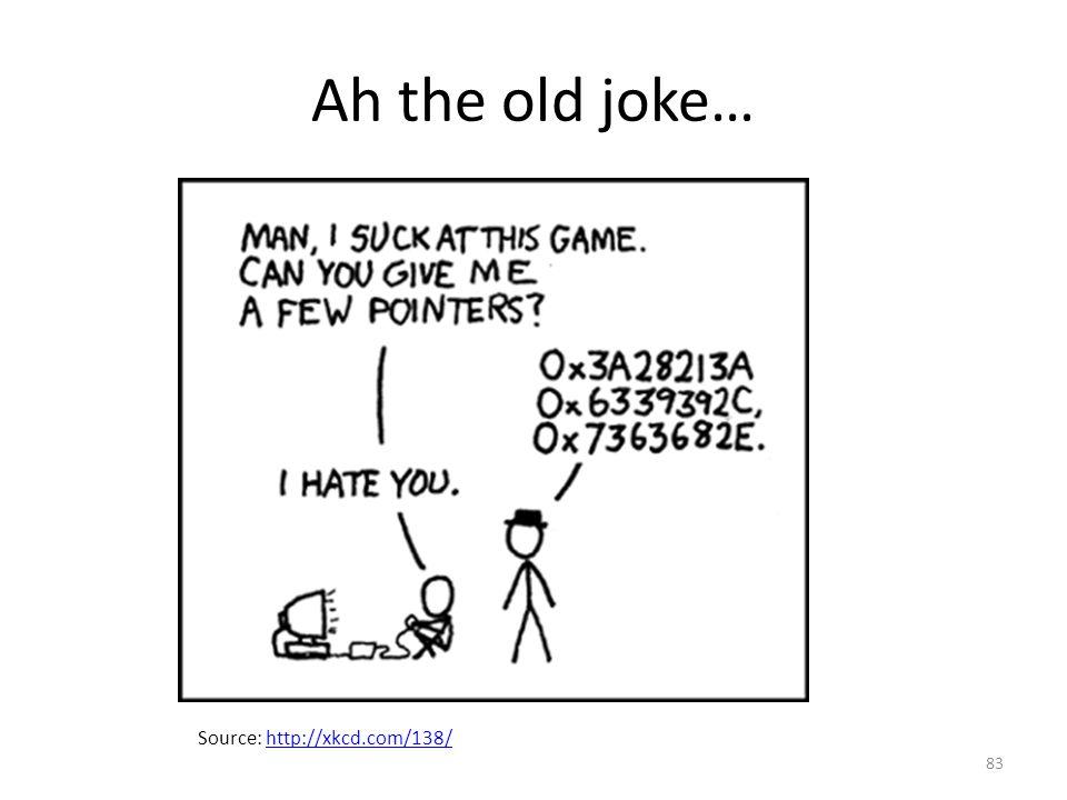 Ah the old joke… Source: http://xkcd.com/138/http://xkcd.com/138/ 83