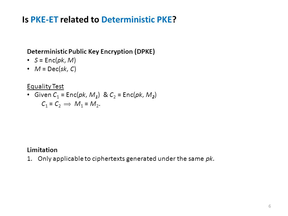 7 Applications of PKE-ET Outsourced Database, data are stored in encrypted form.