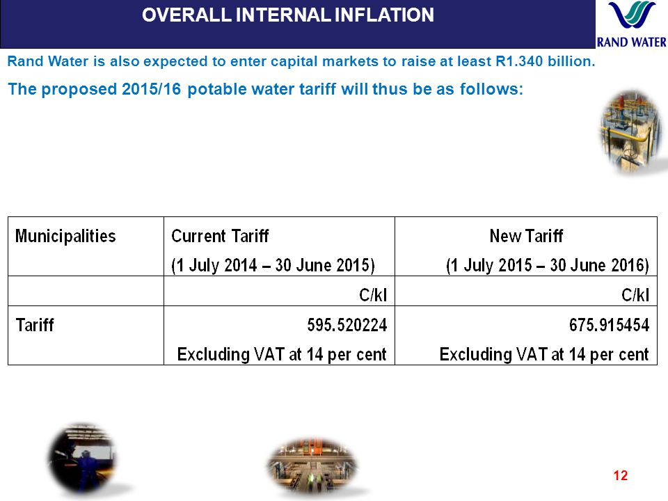 OVERALL INTERNAL INFLATION 12 Rand Water is also expected to enter capital markets to raise at least R1.340 billion.