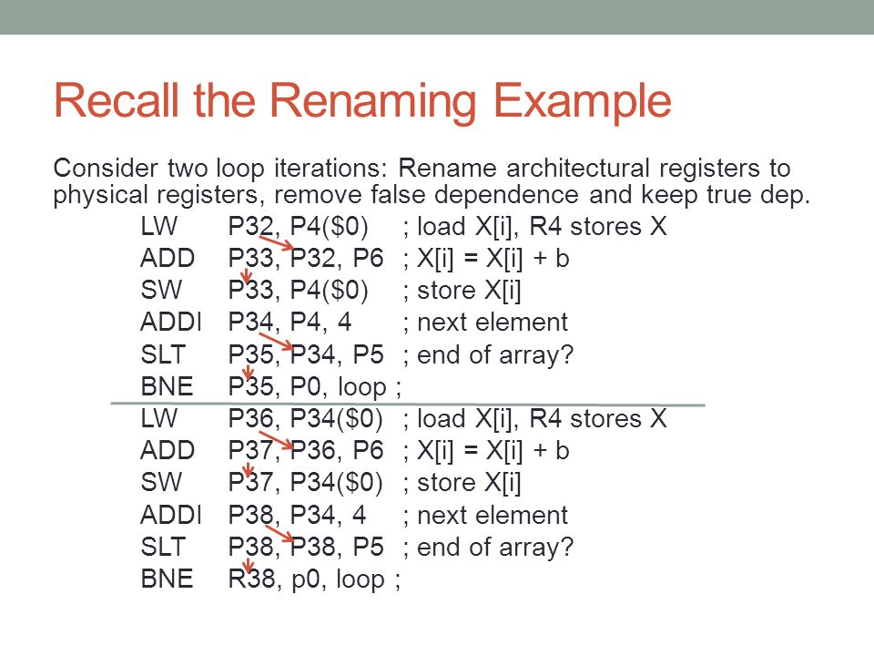 Recall the Renaming Example Consider two loop iterations: Rename architectural registers to physical registers, remove false dependence and keep true dep.