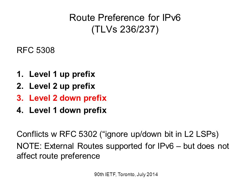 Route Preference for IPv6 (TLVs 236/237) RFC 5308 1.Level 1 up prefix 2.Level 2 up prefix 3.Level 2 down prefix 4.Level 1 down prefix Conflicts w RFC
