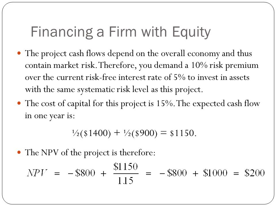 Financing a Firm with Equity If you finance this project using only equity, how much would investors be willing to pay for the equity of the project.