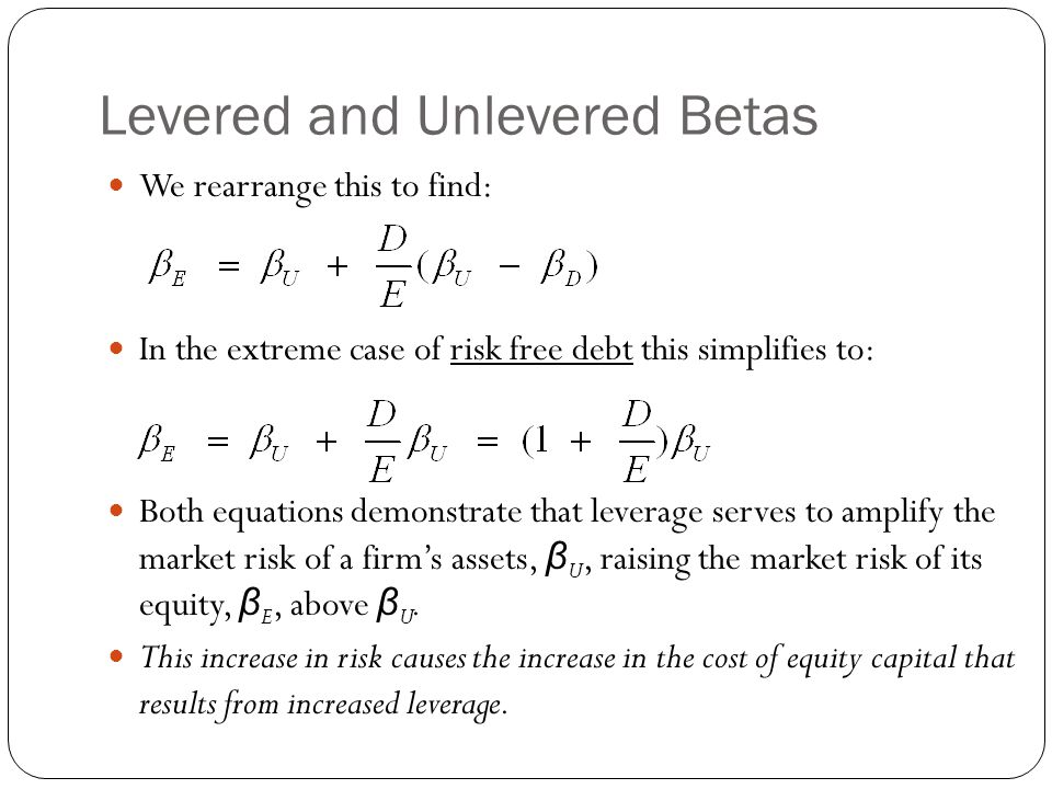 Levered and Unlevered Betas We rearrange this to find: In the extreme case of risk free debt this simplifies to: Both equations demonstrate that lever