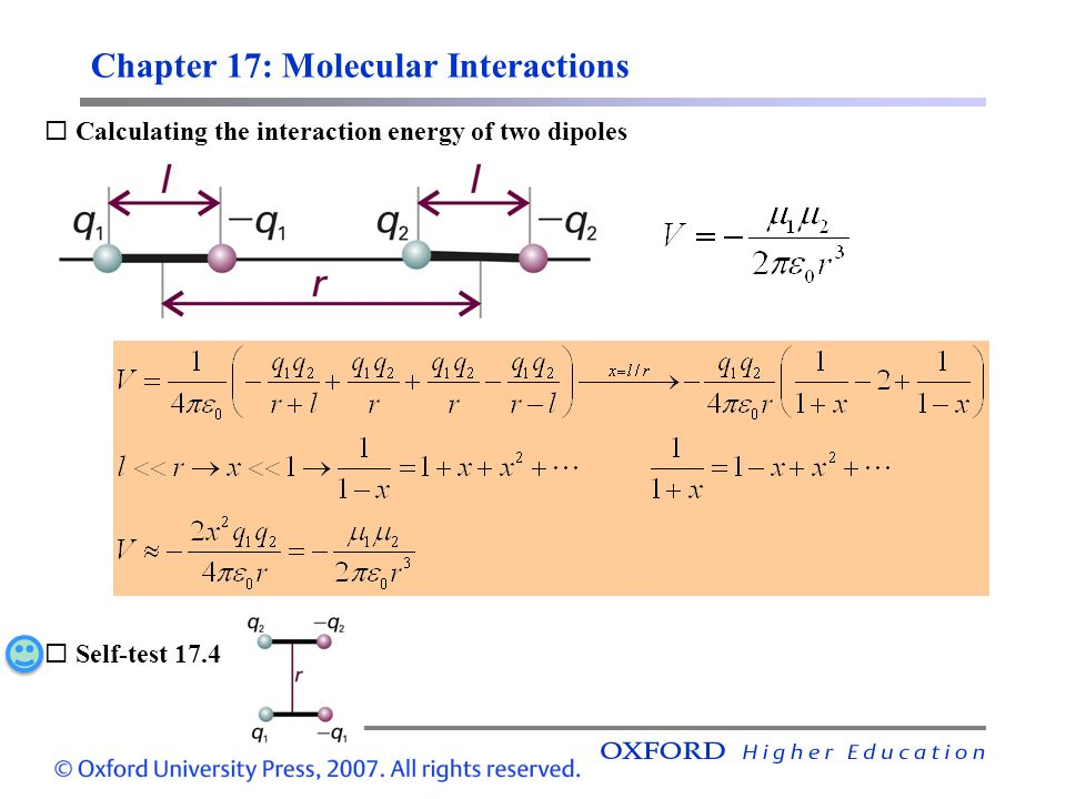 Chapter 17: Molecular Interactions,  Calculating the interaction energy of two dipoles  Self-test 17.4