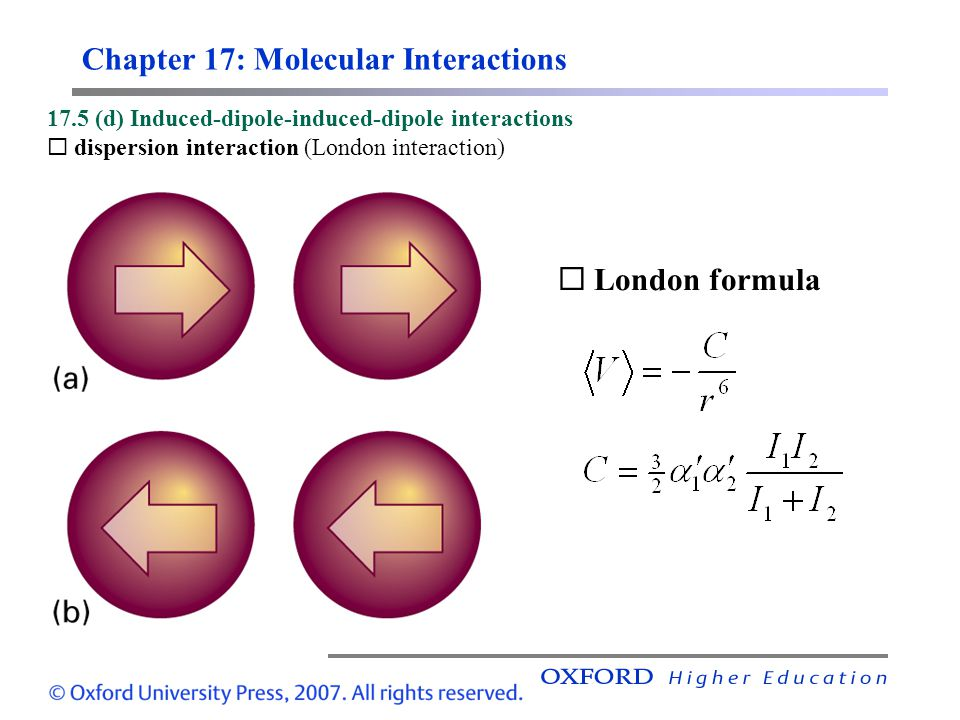 Chapter 17: Molecular Interactions 17.5 (d) Induced-dipole-induced-dipole interactions  dispersion interaction (London interaction),  London formula