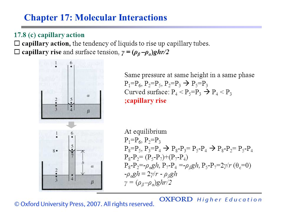 Chapter 17: Molecular Interactions 17.8 (c) capillary action  capillary action, the tendency of liquids to rise up capillary tubes.  capillary rise