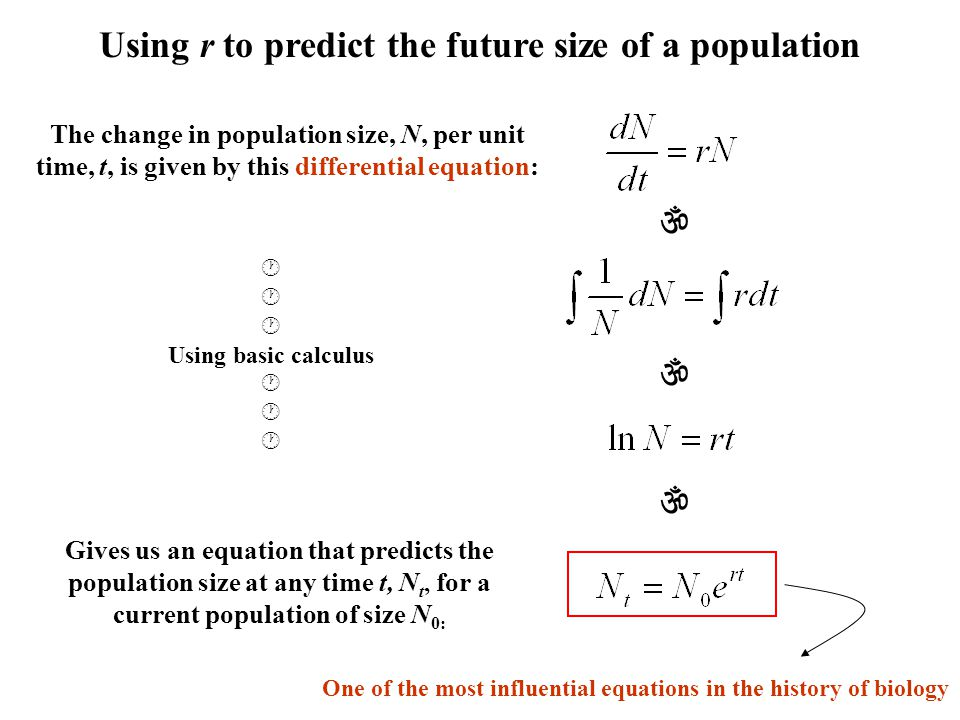 Using r to predict the future size of a population    The change in population size, N, per unit time, t, is given by this differential equation: 